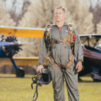 pilot geared up with Butler high altitude emergency bailout parachute