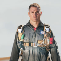 pilot geared up in high altitude emergency bailout parachute made by Butler