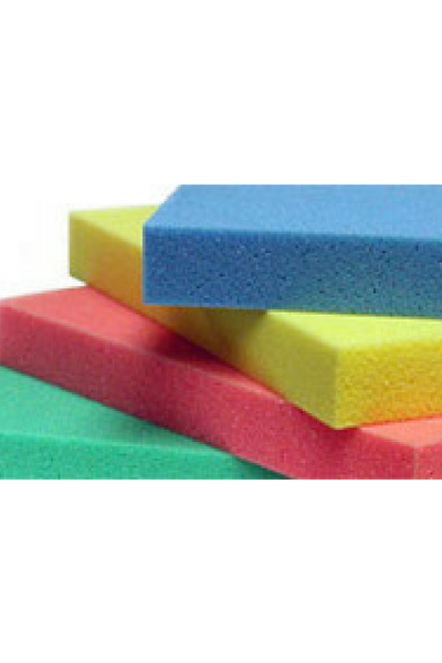 SEAT CUSHION foam displayed in a stack with blue, yellow, red and green